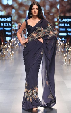 Sequin embroidered sari with sleeveless blouse