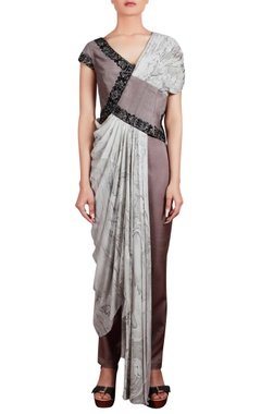 Embroidered tunic with pleated drape and trouser pants