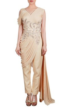 Pleated drape tunic with trouser pants