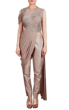 Sari style drape tunic with trouser pants