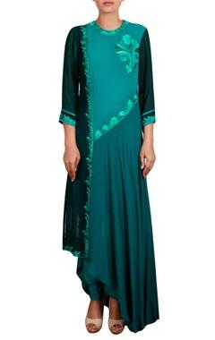 Asymmetric hemline embroidered tunic with churidar