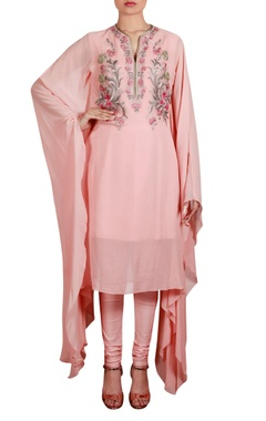 Threadwork embroidered tunic with churidar
