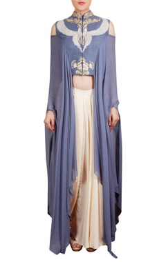 Cold shoulder sleeves tunic with drape pants