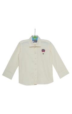 Stripe pattern embroidered shirt