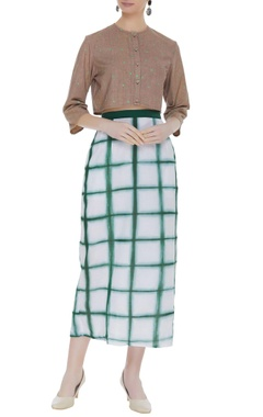 Shibori dyed skirt with back button placket