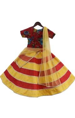 Printed blouse with stripe detail lehenga & dupatta