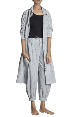 Stripe pattern handspun khadi high waist pants