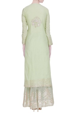 Embroidered kurta with palazzo and dupatta with diamond embroidery