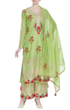 Gota embroidered kurta with palazzo and dupatta