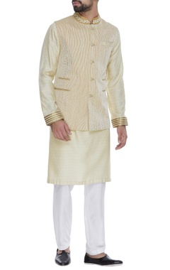 Kurta with textured nehru jacket and churidar