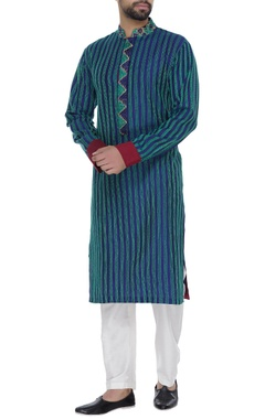 Phulkari work kurta with trouser pants