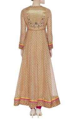 Embroidered kurta with waist drawstring