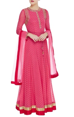 Embroidered anarkali kurta set with dupatta