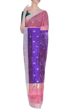 Pure chanderi sari with zari lotus - silk palla