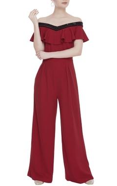 Sequin embroidered off-shoulder jumpsuit