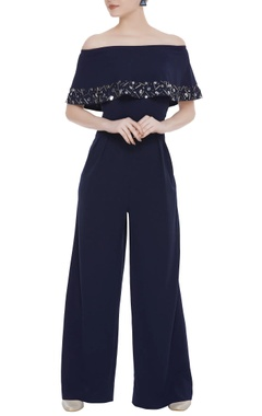 Scuba georgette sequin embroidered jumpsuit