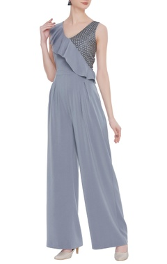 Scuba georgette bead embroidered ruffle jumpsuit