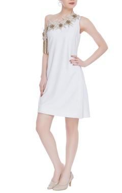Kresha Lulla One-shoulder embroidered mini dress