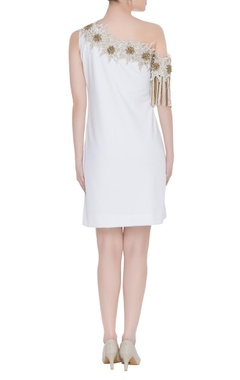 One-shoulder embroidered mini dress