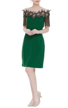 Kresha Lulla Floral applique off-shoulder dress