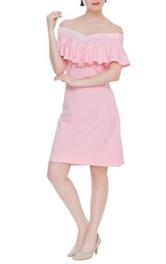 Kresha Lulla Scuba georgette off-shoulder dress