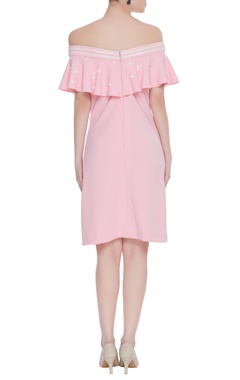 Scuba georgette off-shoulder dress