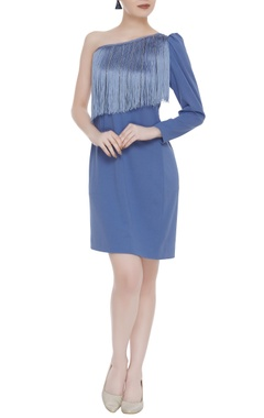 Kresha Lulla Tassel one-shoulder cocktail dress