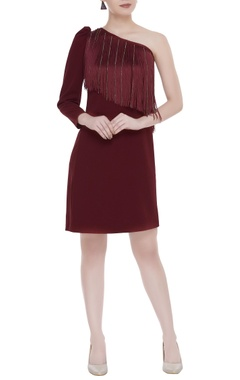 Kresha Lulla One-shoulder puffed sleeve dress