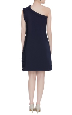 One-shoulder bead embroidered dress