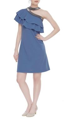 Kresha Lulla Scuba georgette choker neckline dress
