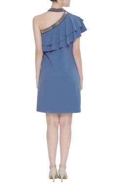 Scuba georgette choker neckline dress