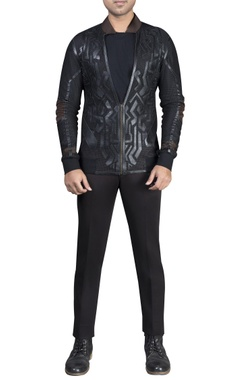 Mesh with leather detailed athlesiurejacket and pant