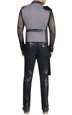 Mesh with leather detailed athlesiure vest coat and pants with t-shirt