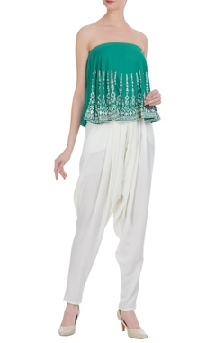 Embroidered tube blouse with draped pants