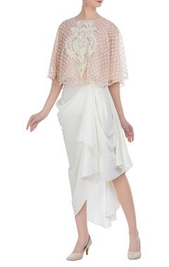 Resham embroidered tunic with dhoti skirt