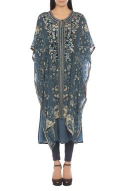 Ritu Kumar Floral print & embroidered kaftan tunic with churidar