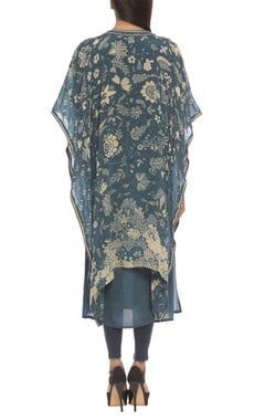 Floral print & embroidered kaftan tunic with churidar