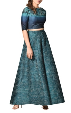 Ritu Kumar Floral ombre shaded blouse with printed palazzos