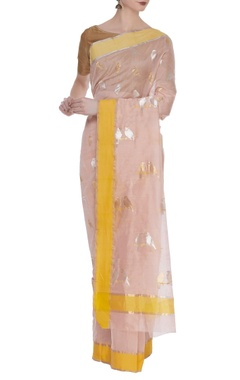 Woven chanderi bird motif sari with unstitched blouse