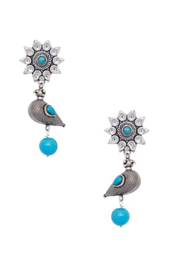 Motifs by Surabhi Didwania Pure silver earrings with semi precious stones