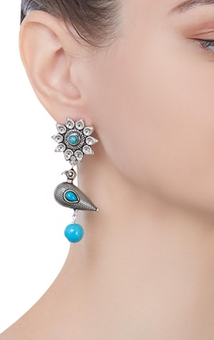 Pure silver earrings with semi precious stones
