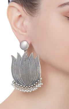 Pure silver statement earrings