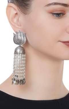 Lotus motif pure silver earrings