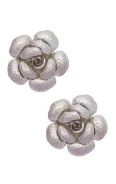 Motifs by Surabhi Didwania Pure silver earrings with rose-shaped design