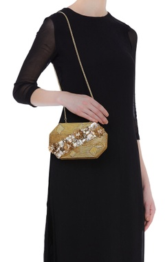 Handmade clutch with floral embroidery