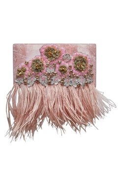 Be Chic Embroidered clutch with feather detailing