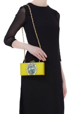 Handmade clutch with crystal detailing