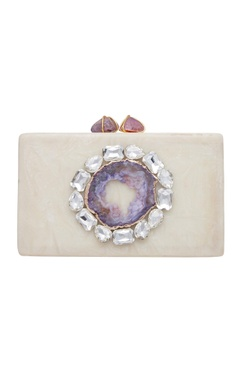 Be Chic Statement clutch with abalone stone & crystal detailing