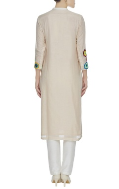 Applique work cotton silk kurta