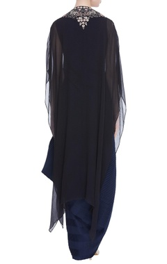 Draped dress with embroidered cape